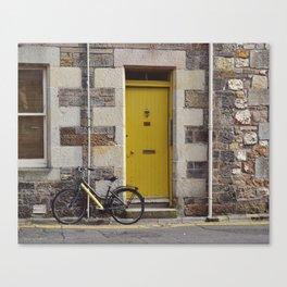 Yellow Door and Bike Canvas Print
