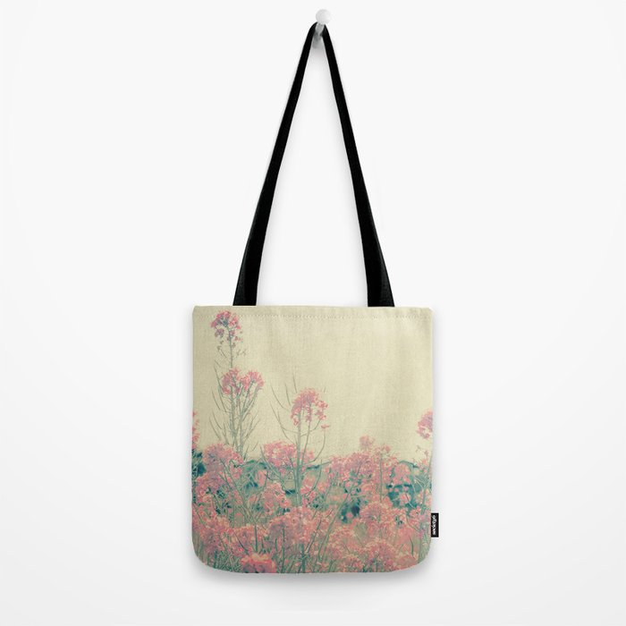 Vintage Spring Soft Pink Wildflowers Tote Bag