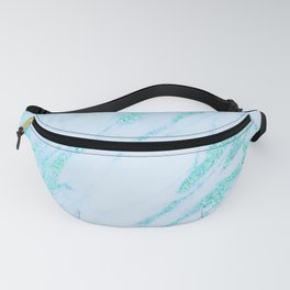 Teal Marble - Shimmery Glittery Turquoise Blue Sea Green Marble Metallic Fanny Pack