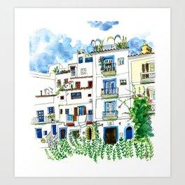 Dalt Vila houses from Ibiza - Calle de la Carrossa Art Print