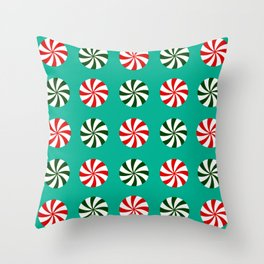 Striped Candy Mints in Christmas Colors Pattern Throw Pillow