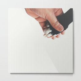 Boston Terrier paw hand shake Metal Print