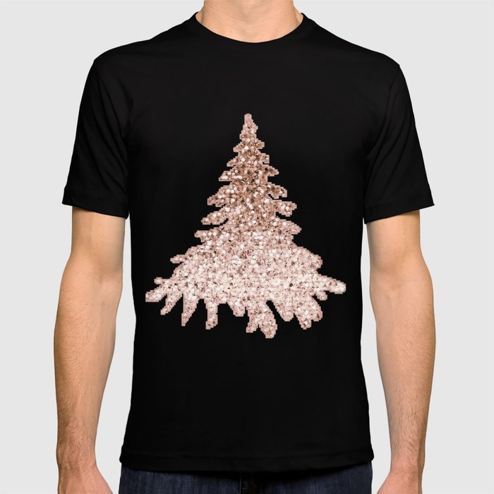 Sparkling Christmas Tree Rose Gold Ombre T Shirt By Roseaesthetic