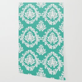 Paisley Victorian #3 Green and White Pattern Wallpaper