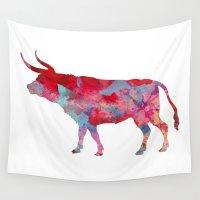 pit bull Wall Tapestries featuring Bull by WatercolorGirlArt
