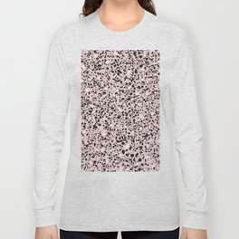 'Speckle Party' Soft Pink Black White Dots Speckle Terrazzo Pattern Long Sleeve T-shirt