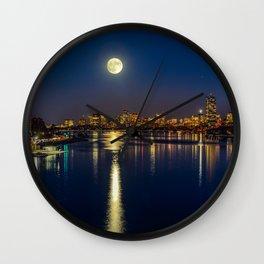 Moon light city of Boston Wall Clock