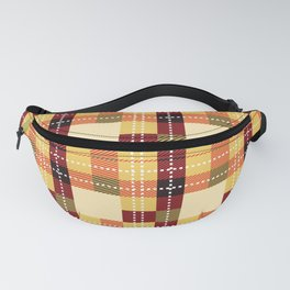 Plaid White Stitch Yellow And Brown Lumberjack Flannel Fanny Pack