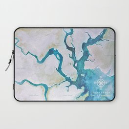 Charleston South Carolina Watercolor Map Typography Art Laptop Sleeve