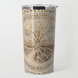 Tree of life - Yggdrasil- Dot Art Pastel Gold Travel Mug