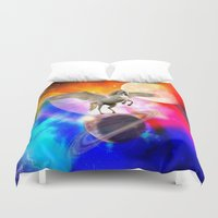 decal Duvet Covers featuring space unicorn. by haroulita
