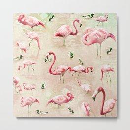 Flamingos Vintage Pink  Metal Print