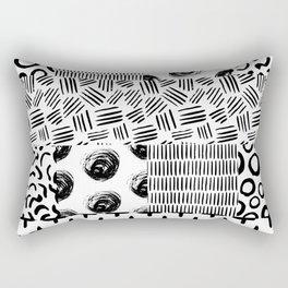 Modern black white hand drawn watercolor geometrical Rectangular Pillow