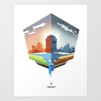 Minecraft (Day & Night) Art Print