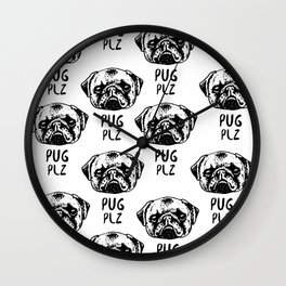 Pug Plz Wall Clock