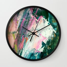 Meditate [2]: a vibrant, colorful abstract piece in bright green, teal, pink, orange, and white Wall Clock