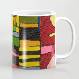Colors in Collision 2 - Geometric Abstract in Blue Yellow Pink and Green Coffee Mug