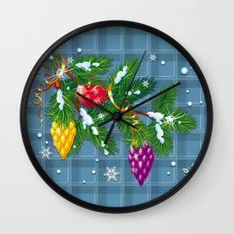 Christmas balls on the pine branch Wall Clock