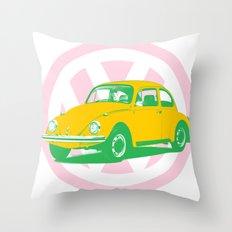 Volkswagen VW Beetle pop art clock t-shirt Throw Pillow