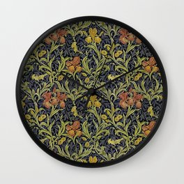 Red And Yellow Flowers William Morris Wall Clock