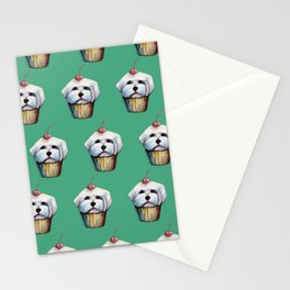 """""""Cherry on Pup"""" Maltese Cake Pattern Green Stationery Cards"""