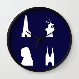 Delft silhouette on blue Wall Clock