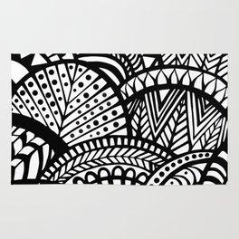 Black Tropical Ethnic Print Rug