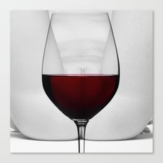 Red wine and naked woman Canvas Print