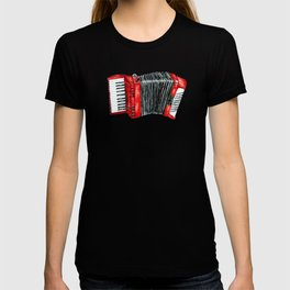 Retro red accordion T-shirt