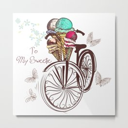 Vintage bicycle. Unbreakable romantic memories Metal Print