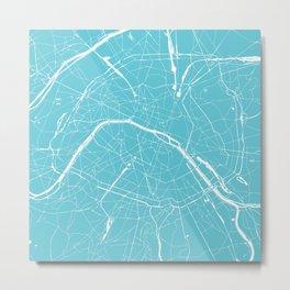 Paris France Minimal Street Map - Turquoise Blue Metal Print