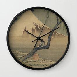 Boy Viewing Mount Fuji by Katsushika Hokusai Wall Clock