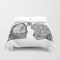 lungs Duvet Covers featuring Lungs by ericajc