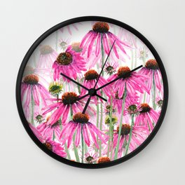 pink coneflower field Wall Clock