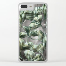 Ginko Leaves on Gray Abstract Clear iPhone Case