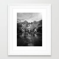 the mountains are calling Framed Art Prints featuring The Mountains Are Calling by okalova