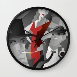 noir pulp black and white mafia mobster, private detective and red dress sexy woman poster Wall Clock