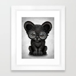 Cute Baby Black Panther Cub Wearing Glasses Framed Art Print