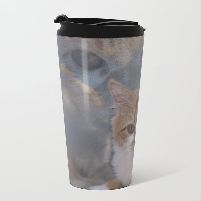 Dramatic Cat Face Metal Travel Mug
