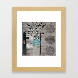 Grey Teal Abstract Art  Framed Art Print