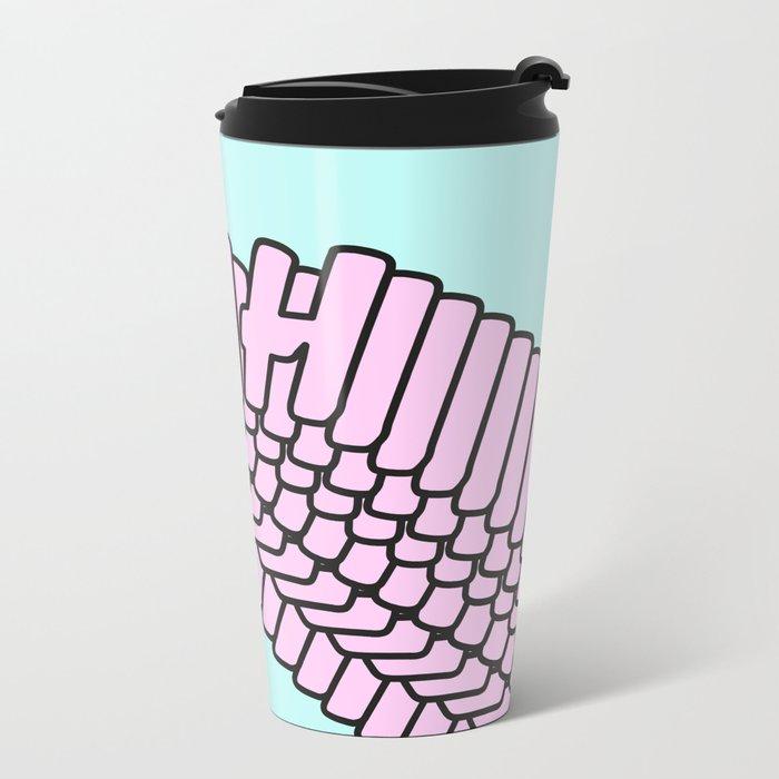 YEAH Typography Pink Blue Metal Travel Mug