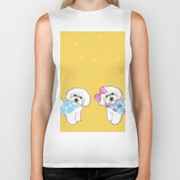 Bichon Frise Holidays yellow cute dogs, Christmas gift, holiday gift, birthday gift, dog, Bijon Biker Tank