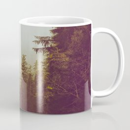 Olive Green Sepia Misty Pine Forest Landscape Photography Parallax Trees Coffee Mug
