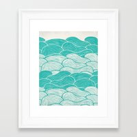 jazzberry Framed Art Prints featuring The Calm and Stormy Seas by Pom Graphic Design
