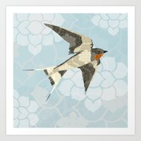 swallow Art Prints featuring Swallow by Lorri Leigh Art