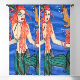 Mardi Gras Mermaid Blackout Curtain