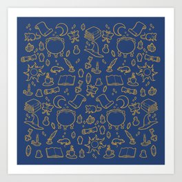 Late Night in the Witch's Study (Blue & Bronze) Art Print
