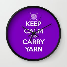 Keep Calm and Carry Yarn - Purple solid Wall Clock