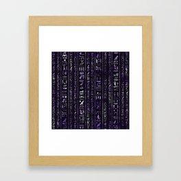 Amethyst and Silver Egyptian hieroglyphics pattern Framed Art Print