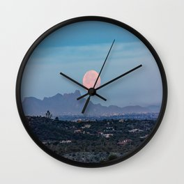 Moon Over Tucson - Full Moon Sets Early Morning in Tucson Arizona Wall Clock